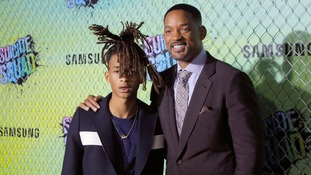 Will Smith with his son Jaden at the premiere.