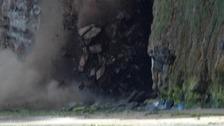 The rock fall captured at Saltburn cliffs