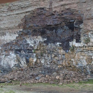 Damage to the cliff face at Saltburn after a rock fall