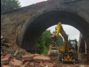 Train services are severely disrupted due to a partial bridge collapse in Leicestershire