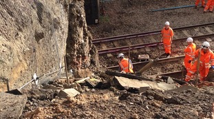 Network Rail teams this morning completing making the track safe for trains to run.
