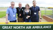Robert Bryan, GNAAS paramedic Andy Mawson, Emily Bryan and Gary Bryan