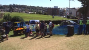 The scene at Sandpit field in Shore Road, Swanage.