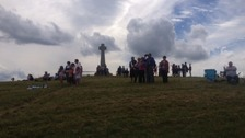 Spectators wait to see the cavalcade at the Flodden memorial in 2013.