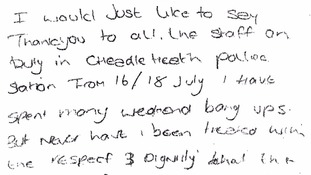 Prisoner writes police glowing review of stay in the cells