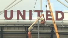 "West Ham United, or just ""United"" for now, graces the front of the stadium - the other letters will soon be up"