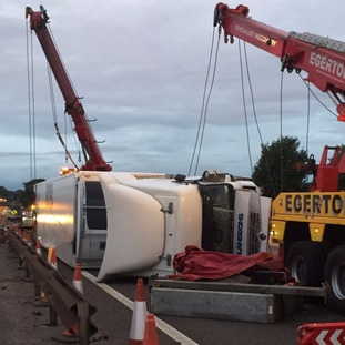 Lorry crash on the M6 southbound in Cheshire