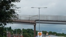 The footbridge over Blaydon Highway which was hit by a vehicle