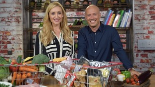presenters with shopping basket