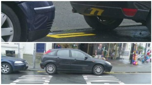 Are these the shortest double yellow lines ever? Road markings are tourist attraction