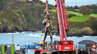 A 65ft Damien Hirst statue erected