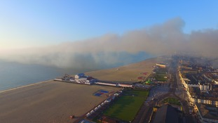 These are the latest pictures from the scene of a huge fire in Great Yarmouth.
