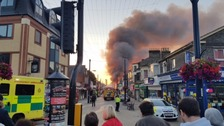 Huge plumes of smoke have been spotted above a major fire in Great Yarmouth in Norfolk.