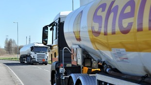 Petrol Tankers come and go from Stanlow Oil refinery, Ellesmere port, Cheshire