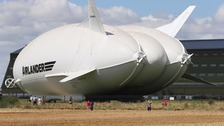 The Airlander 10 left its hangar for the first time today.