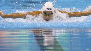 Yusra Mardini competes in the 100 metres butterfly.