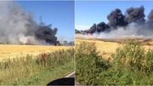 A piece of machinery was on fire just off the A47.