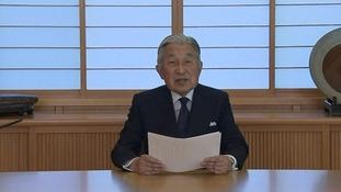 Emperor Akihito in his video address.