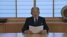 Emperor Akihito in his video address.