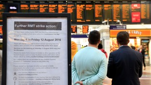 A sign inside Victoria Station in London announcing the strike action.