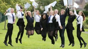 Scottish pupils celebrating their exam results