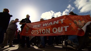Blackpool FC fans protest Oyston family's ownership
