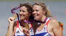 Katherine Grainger (l) will be competing in the double sculls on Tuesday