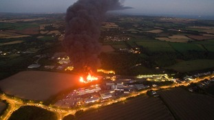 Fire at recycling plant disrupts rush hour traffic