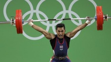 Sinphet Kruithong came third in the men's 56kg weightlifting event