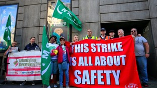 A picket line opposite Victoria Station