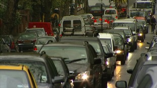 Pollution from exhausts on London's busy streets is a common sight.