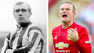 Jesse Pennington (left) was paid just £4 a week compared to Wayne Rooney (right) who currently has a salary of £250,000.