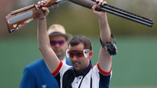 ritain's Edward Ling celebrates during the men's trap final of shooting at the Rio 2016 Olympic Games in Rio de Janeiro,
