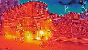 Thermal imaging of London bus.