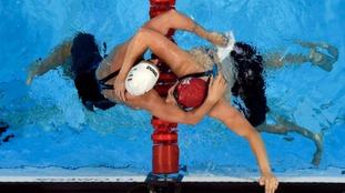 Katinka Hosszu (HUN) hugs Siobhan-Marie O'Connor (GBR) after the women's 200m individual medley fina