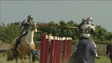 Britain's first female jouster is battling it out in a series of competitions in Falmouth.
