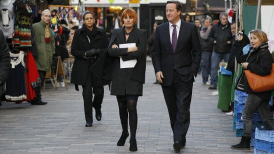 Mary Portas with David Cameron in London