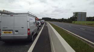 Motorway traffic at a standstill.