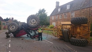 Driver walks away from accident that flipped ten-tonne tractor upside down