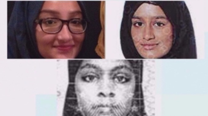 Kadiza Sultana (left), Shamima Begum and Amira Abase