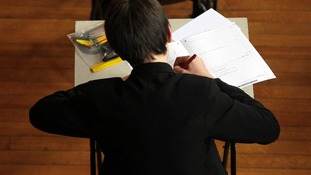 Pupil sitting an exam in Cheltenham