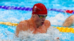 Adam Peaty (GBR) during the men's 4x100m medley relay heats at Rio 2016.