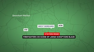 Firefighters are likely to remain at Station Road in West Dereham for most of the day.