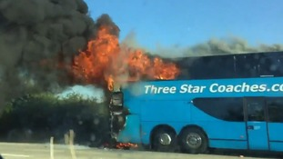 Dramatic video: Coach company praises driver after passengers escape dramatic fire uninjured