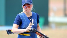Amber Hill competes in the Women's Skeet Qualification at the Olympic Shooting Centre on the seventh day of the Rio Olympics Games