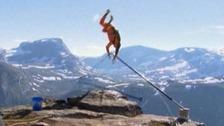 The moment the poles buckled, sending Richard Henriksen flying over the edge