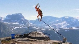 The moment the poles buckled, sending Richard Henriksen flying over the edge