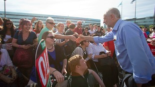 Jeremy Corbyn meets supporters in Milton Keynes.