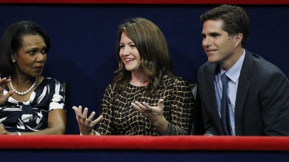 Tagg Romney with his wife Jen and former US Secretary of State Rice during the Republican convention.