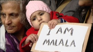 Women and children gather in Vigil for Malala